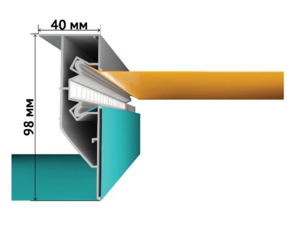 Двухуровневый алюминиевый профиль со встроенной подсветкой