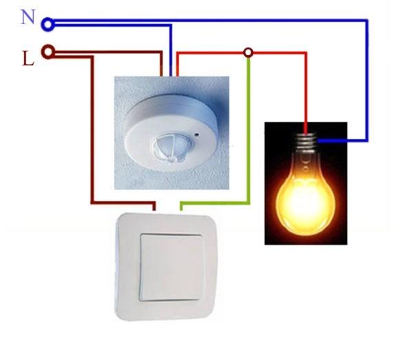 Схема подключения фотореле с обычным включателем