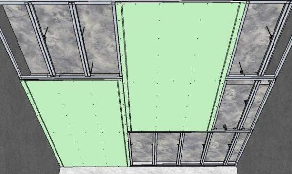 Схема крепления гипсокартона на потолок