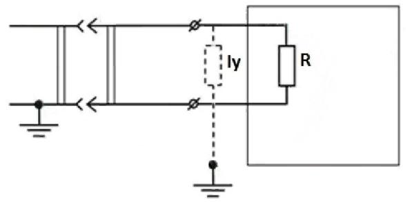 Схематичное изображение утечки тока