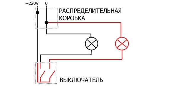 Стандартная схема подключения выключателя