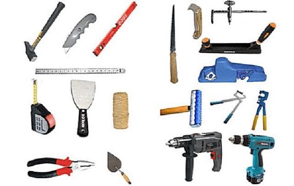 Инструменты, используемые во время монтажа каркаса и гипсокартонных панелей
