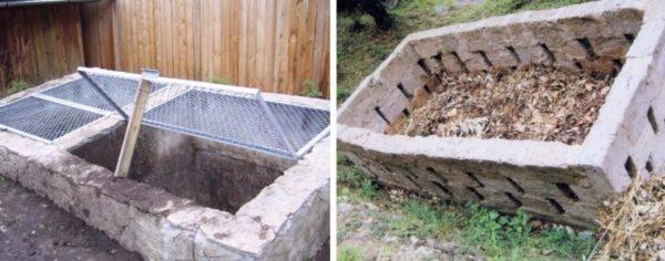 Пример наземной и подземной бетонной ямы для компоста