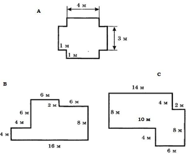 Примеры вычисления периметров комнат неправильной формы