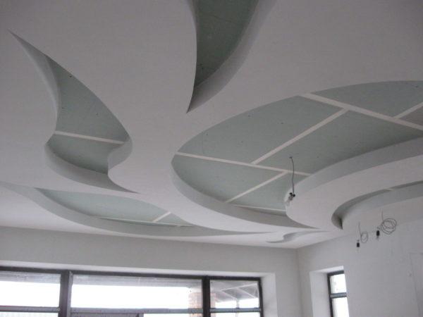 Потолок из гипсокартона может иметь нестандартную форму