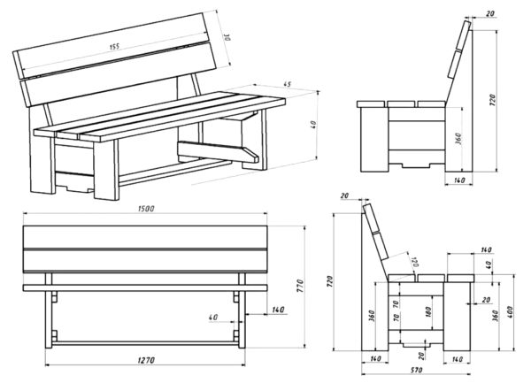 Рабочий чертеж деревянной скамейки