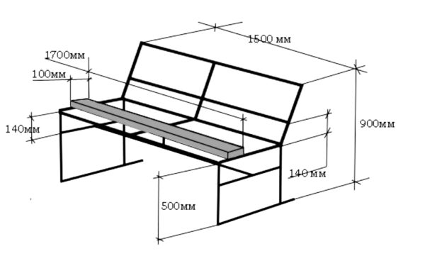 Второй чертеж металлической скамейки из профильной трубы