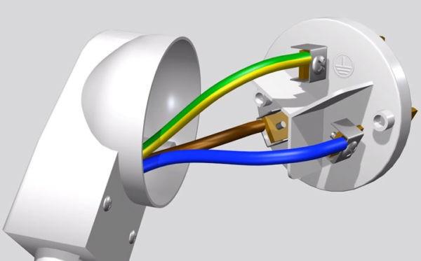 Монтаж вилки для 1-фазной линии