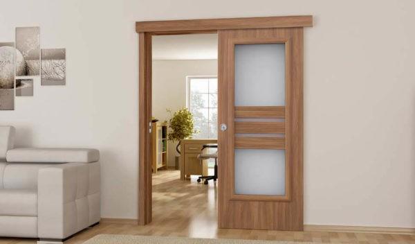 Межкомнатные одностворчатые раздвижные двери (фото)