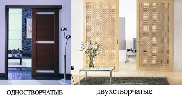Раздвижные межкомнатные двери бывают двух типов - одностворчатые и двухстворчатые