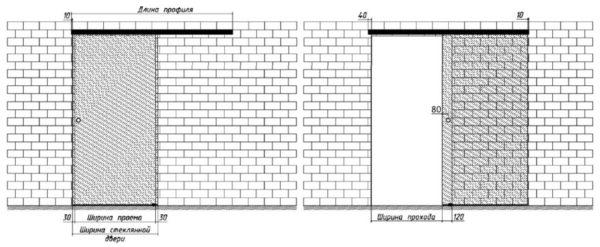 Схема одинарной стеклянной раздвижной двери