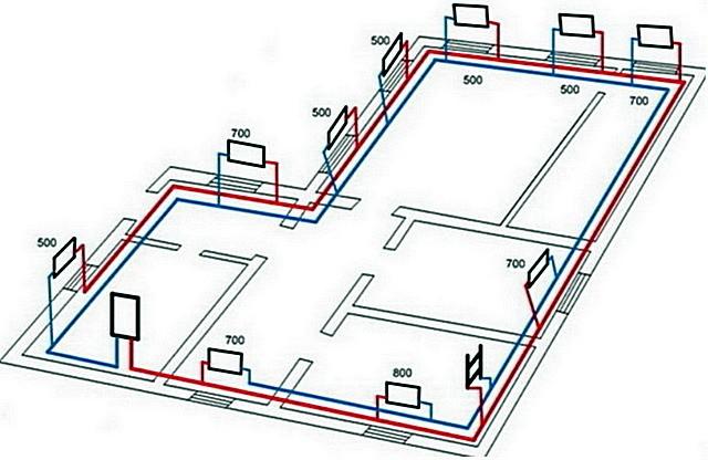 Расстановка радиаторов на схеме планируемой системы отопления проводится на основании расчётов теплопотерь для каждого отдельного помещения.