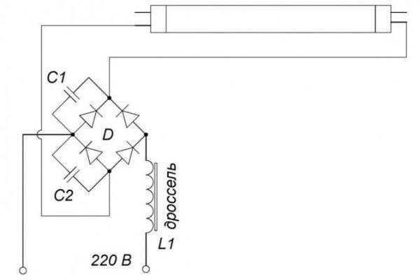 Схема для включения люминесцентных ламп без дросселя