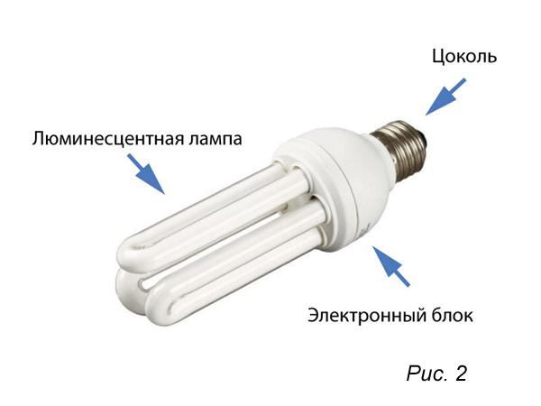 Внешний вид и устройство компактной люминесцентной лампы (КЛЛ)
