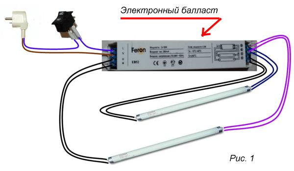 Подключение люминесцентной лампы